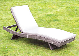 Gigi Gray Wicker Patio Chaise