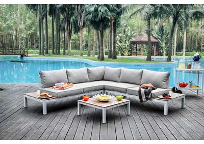 Winona Gray L-ShapedPatio Sectional w/ Ottoman