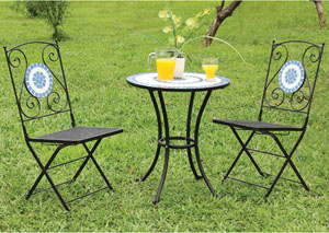 Aster Black & Blue Cast-Iron 3 Piece Table Set
