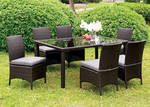 Comidore Espresso Wicker Glass-Top Patio Dining Table w/6 Gray Side Chairs