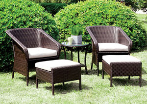 Malinda Espresso & Ivory 5 Piece Patio Chair Set