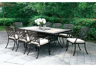 Charissa Antique Black Metal Patio Table
