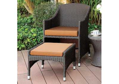 Almada Brown/Espresso Arm Chair w/Nesting Ottoman