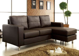Furniture Ville Bronx Ny Avon Dark Brown Leatherette Sectional