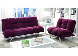 Maybelle Purple Corduroy Futon Sofa