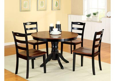 Johnstown Black & Oak Round Dining Table w/4 Side Chairs
