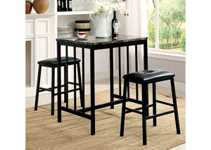 Joleen Black 3 Piece Counter Height Table Set