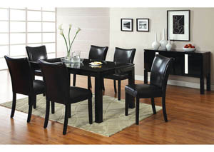 Lamia I Black Dining Table w/4 Black Side Chairs