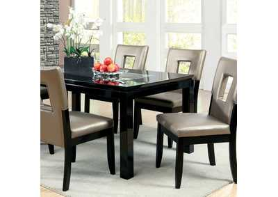 Evant l Lacquer Mirror Insert Top Dining Table w/4 Side Chairs