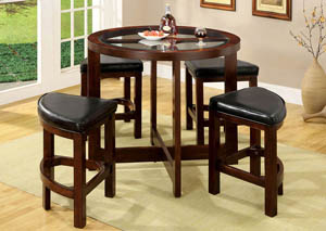 Crystal Cove l 5 Piece Round Glass-Insert Counter Height Table w/Leatherette Stools