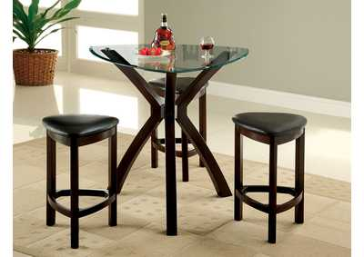 Xanti 4 Piece Triangle Glass Top Counter Height Table Set