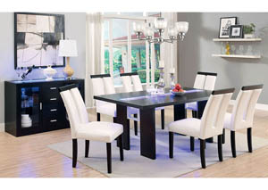 Luminar Espresso Glass Inlay & LED Light Dining Table w/4 Side Chairs