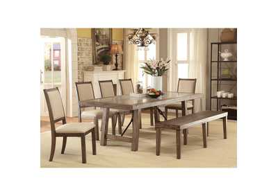 Colette Rustic Oak Dining Table w/Bench and 4 Side Chairs