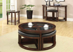 Crystal Cove ll Dark Walnut Round Coffee Table w/Glass Top & Ottomans
