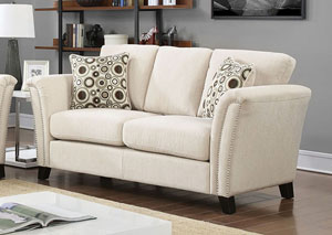 Campbell Ivory Loveseat w/Accent Pillows