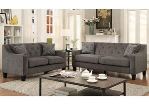 Marlene Mocha Chenille Sofa and Loveseat w/Accent Pillows
