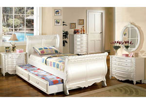 Alexandra Pearl White Full Sleigh Trundle Bed w/Dresser and Mirror