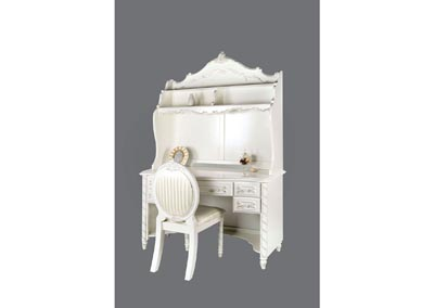 Alexandra Pearl White Desk w/Hutch
