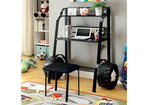 Power Racer Black Desk w/Stool,Furniture of America