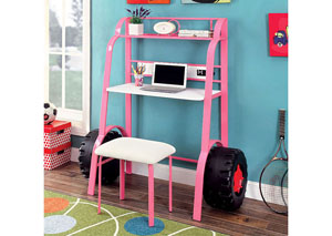 Power Racer Pink Desk w/Stool,Furniture of America