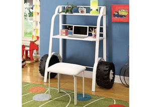 Power Racer White Desk w/Stool,Furniture of America