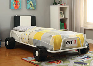Power Racer White Race Car Twin Bed