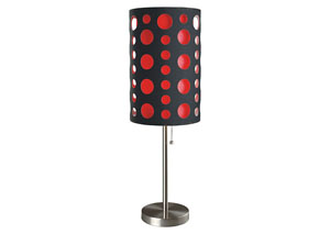 Hoolie Black & Red Shade Table Lamp