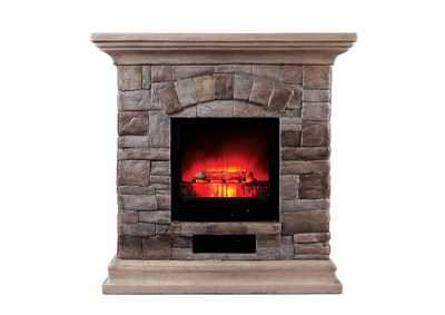 Juna Portable Faux Stone Fireplace w/Heat & Light
