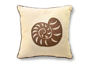 Ciel Tan Seashell Embroidered Pillow 18 x 18