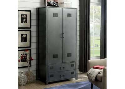 Ziva Dark Gray Metal Armoire