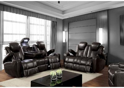 359819 Zaurak Dark Gray Sofa and Loveseat w/4 Recliners