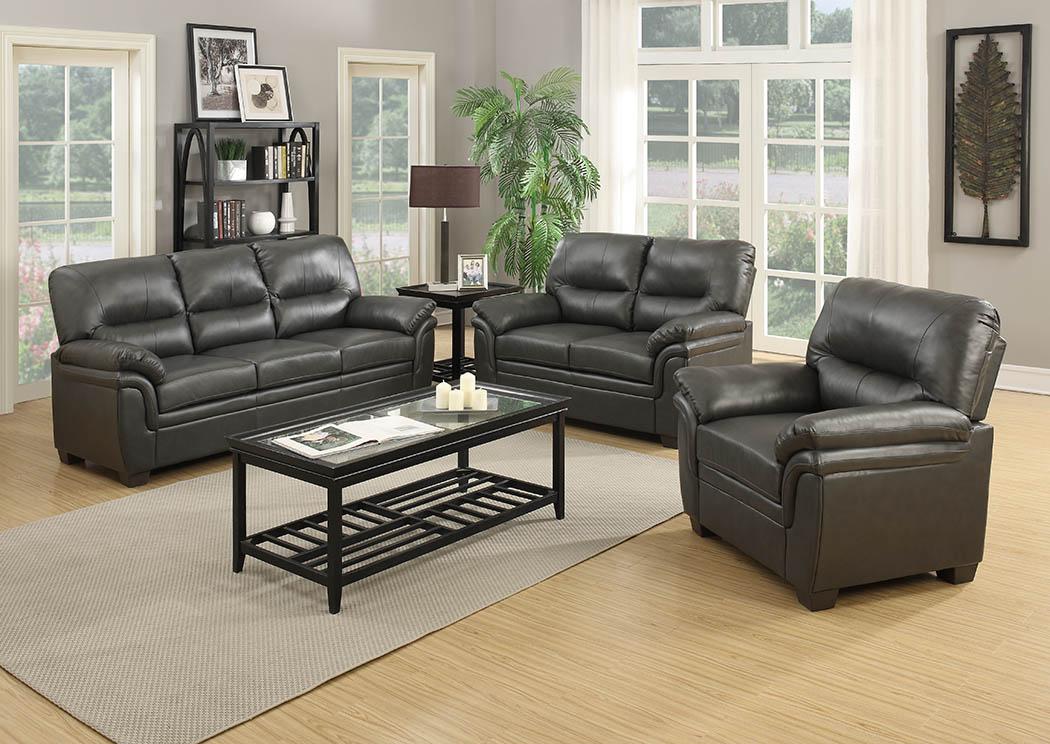 Grey Leather Look Sofa,Furniture World Distributors