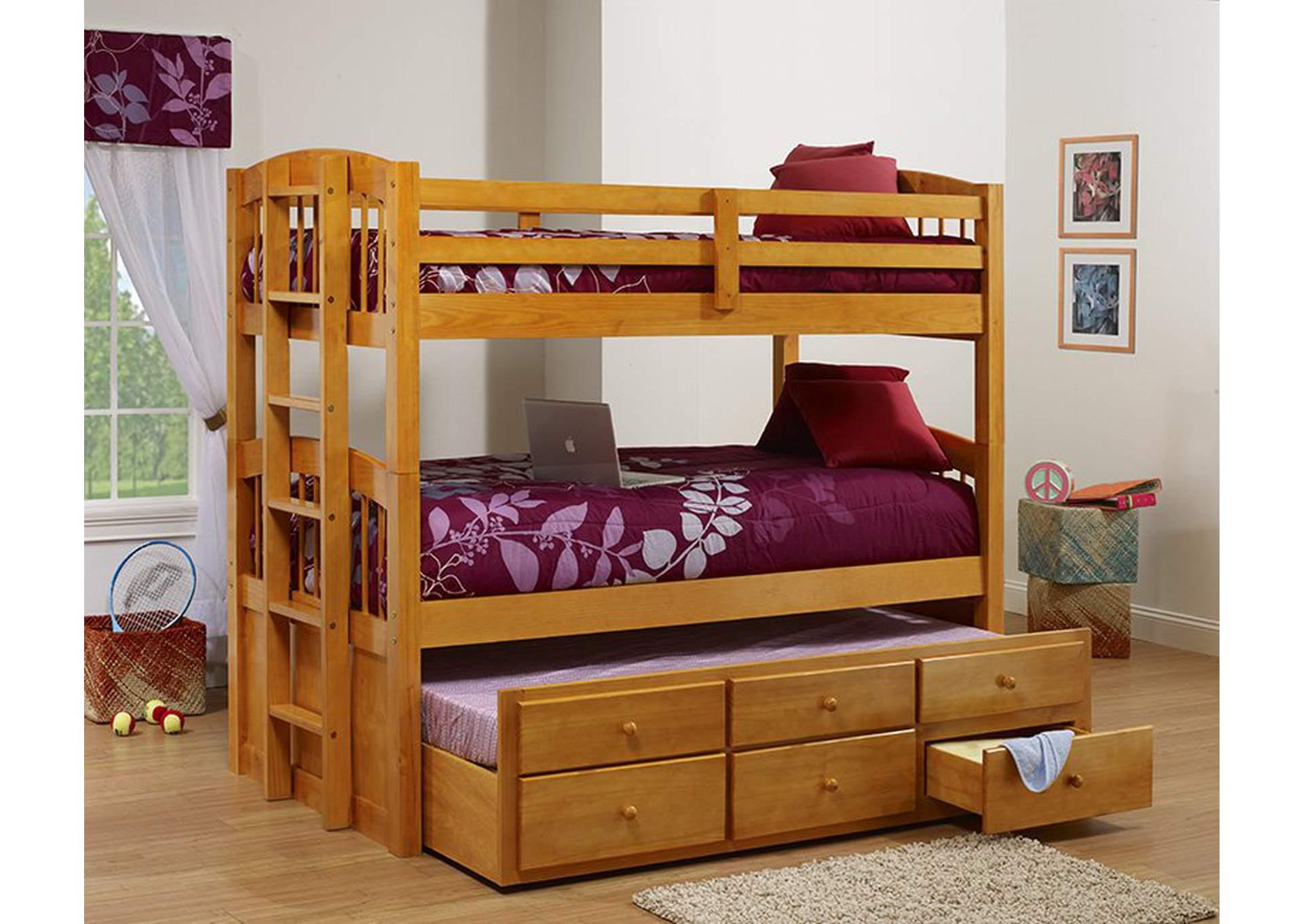 Honey Triple Twin Bunk Bed,Furniture World Distributors