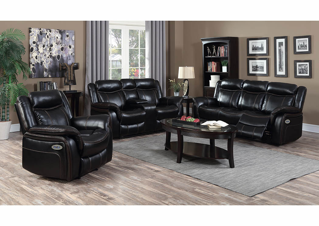 Black Leather Look Power Double Reclining Sofa,Furniture World Distributors