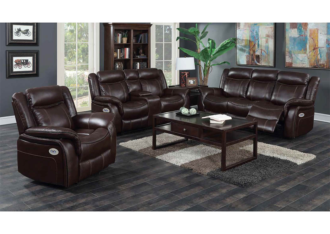 429329 Burgundy Leather Look Power Double Reclining Sofa