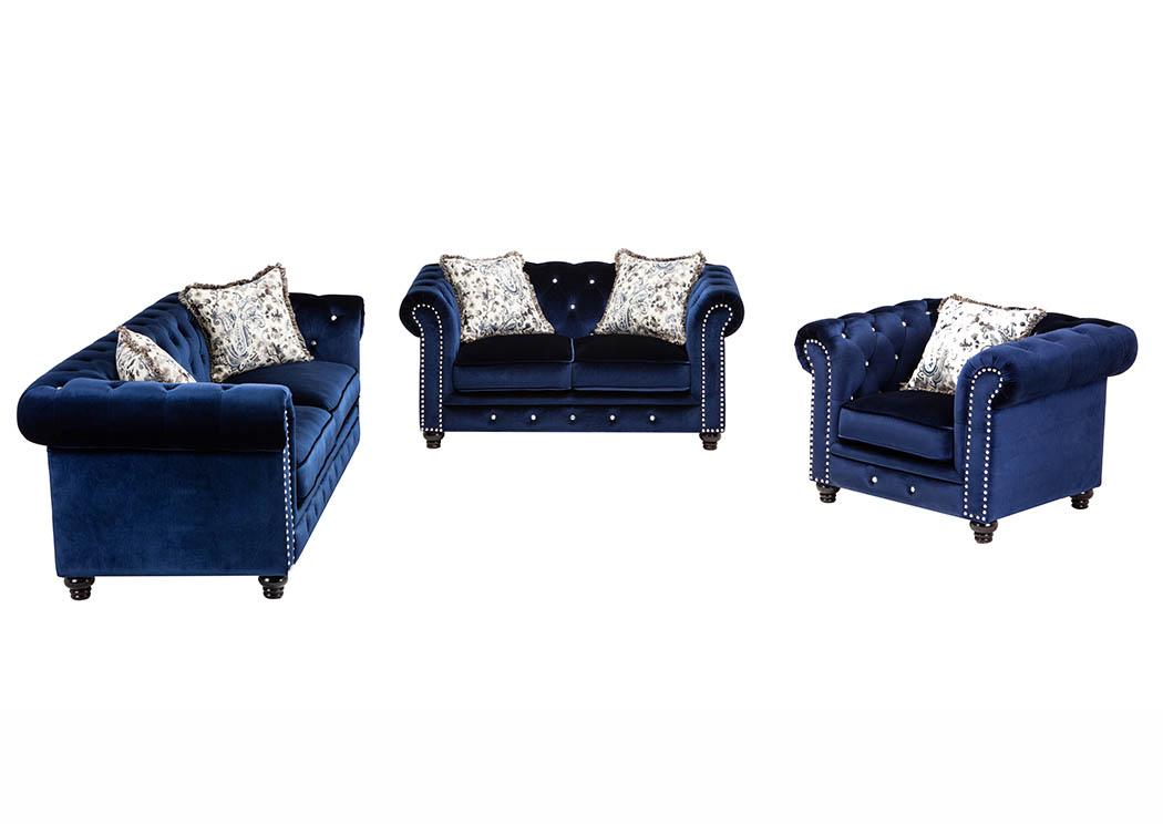 Royal Blue Velvet Sofa W/Pillows,Furniture World Distributors