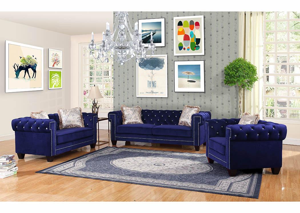 429473 Royal Blue Velvet Loveseat w/Pillows