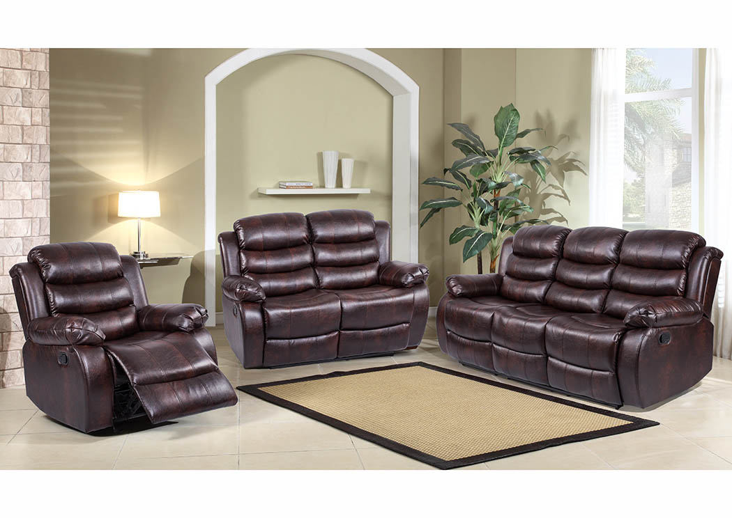Brown Leather Look Double Reclining Sofa,Furniture World Distributors