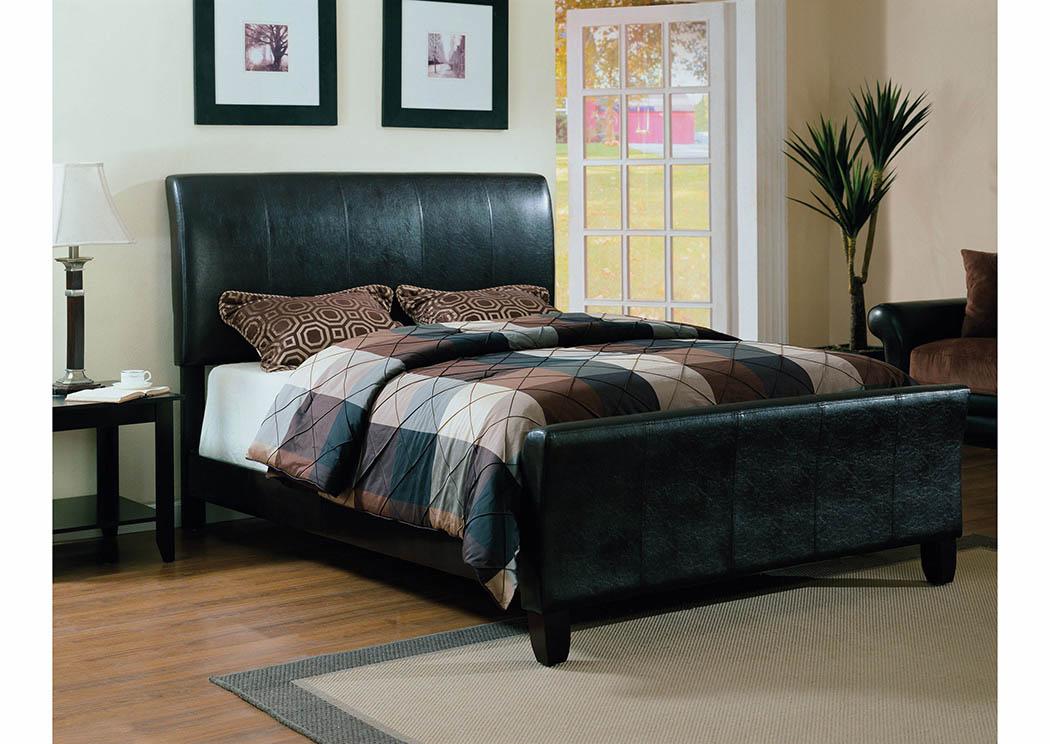 Black Upholstered Sleigh Full Bed,Furniture World Distributors