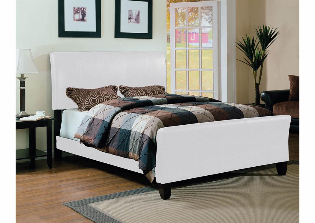 White Upholstered Sleigh Full Bed,Furniture World Distributors