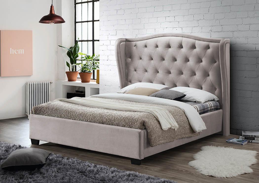 Cream Linen Upholstered Full Bed,Furniture World Distributors