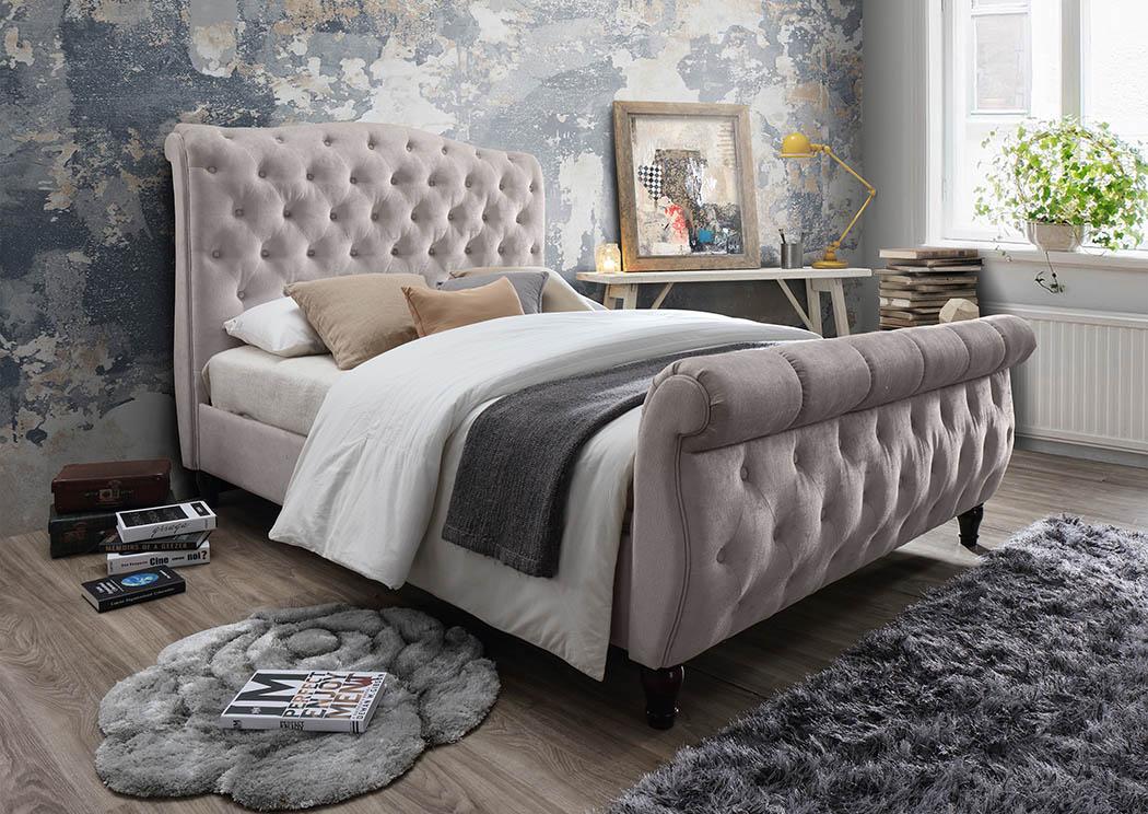 Cream Linen Upholstered Sleigh Queen Bed,Furniture World Distributors