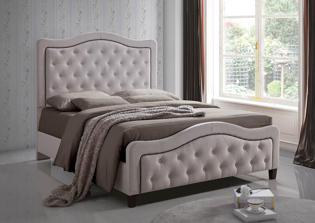 Cream Linen Upholstered Queen Bed,Furniture World Distributors