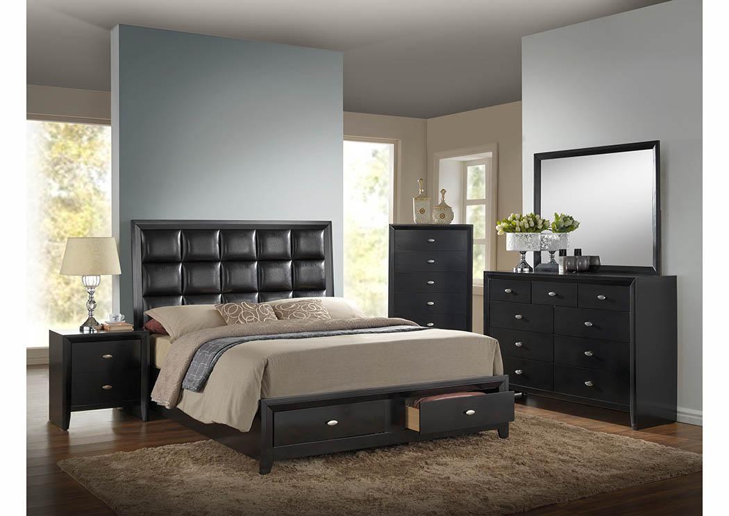 Black Platform Storage Queen Bed,Furniture World Distributors