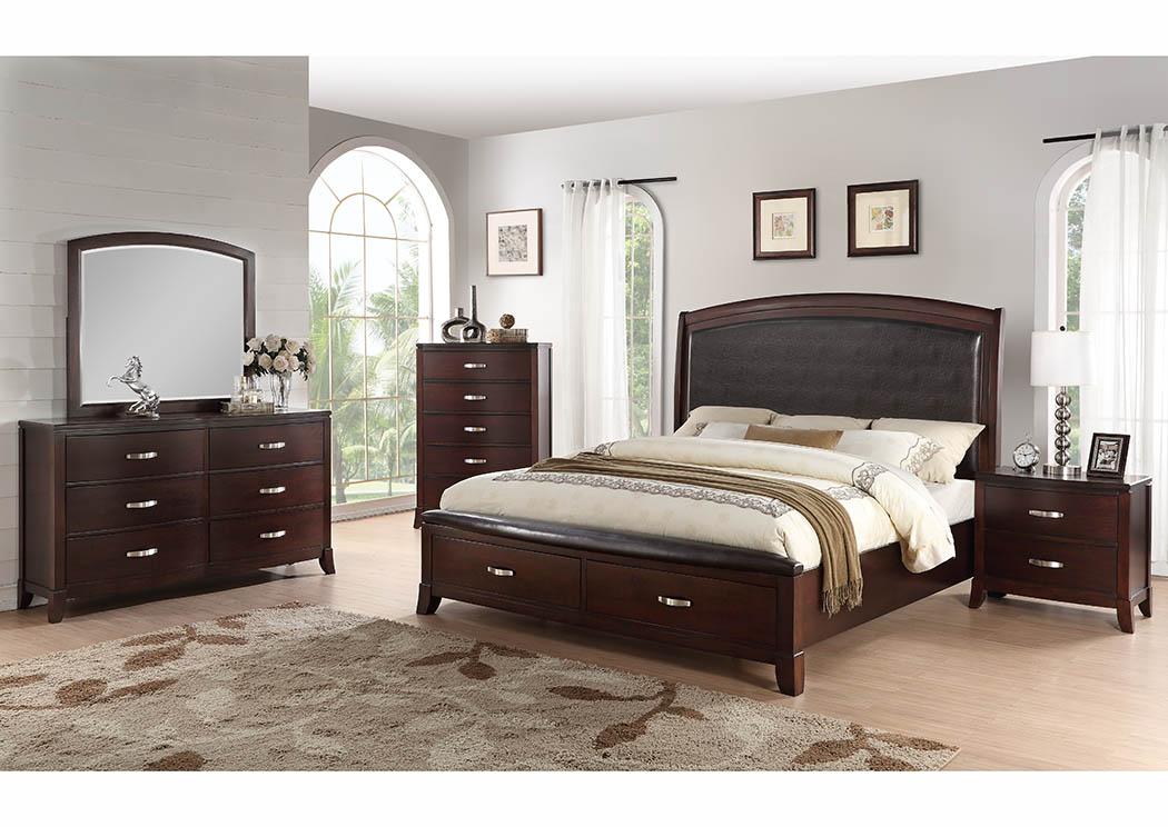 Cherry Platform Storage Full Bed,Furniture World Distributors