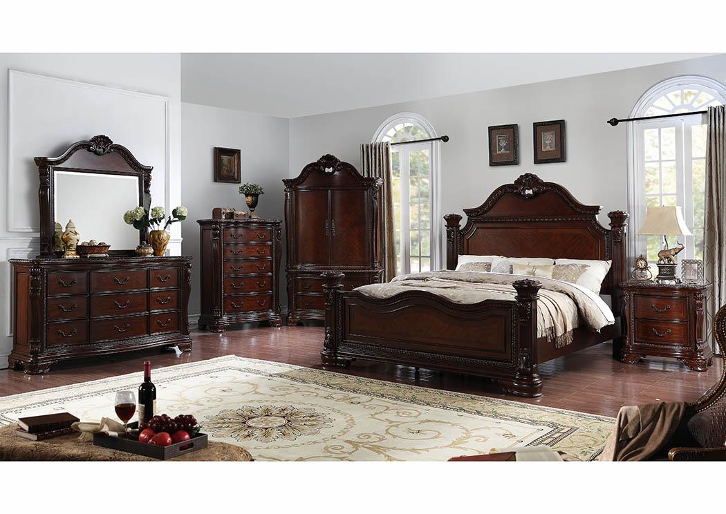 Antique Cherry Low Poster/Platform King Bed,Furniture World Distributors