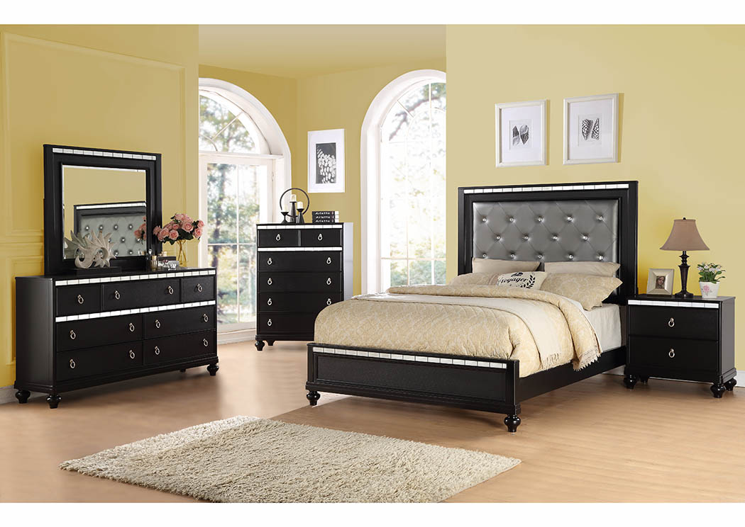 Black Upholstered Platform King Bed W/Mirror Accents,Furniture World  Distributors