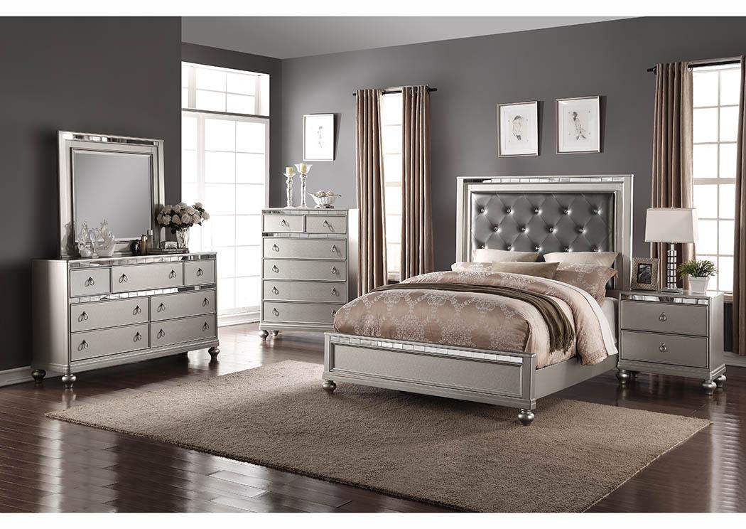 Silver Upholstered Platform King Bed W/Mirror Accents,Furniture World  Distributors