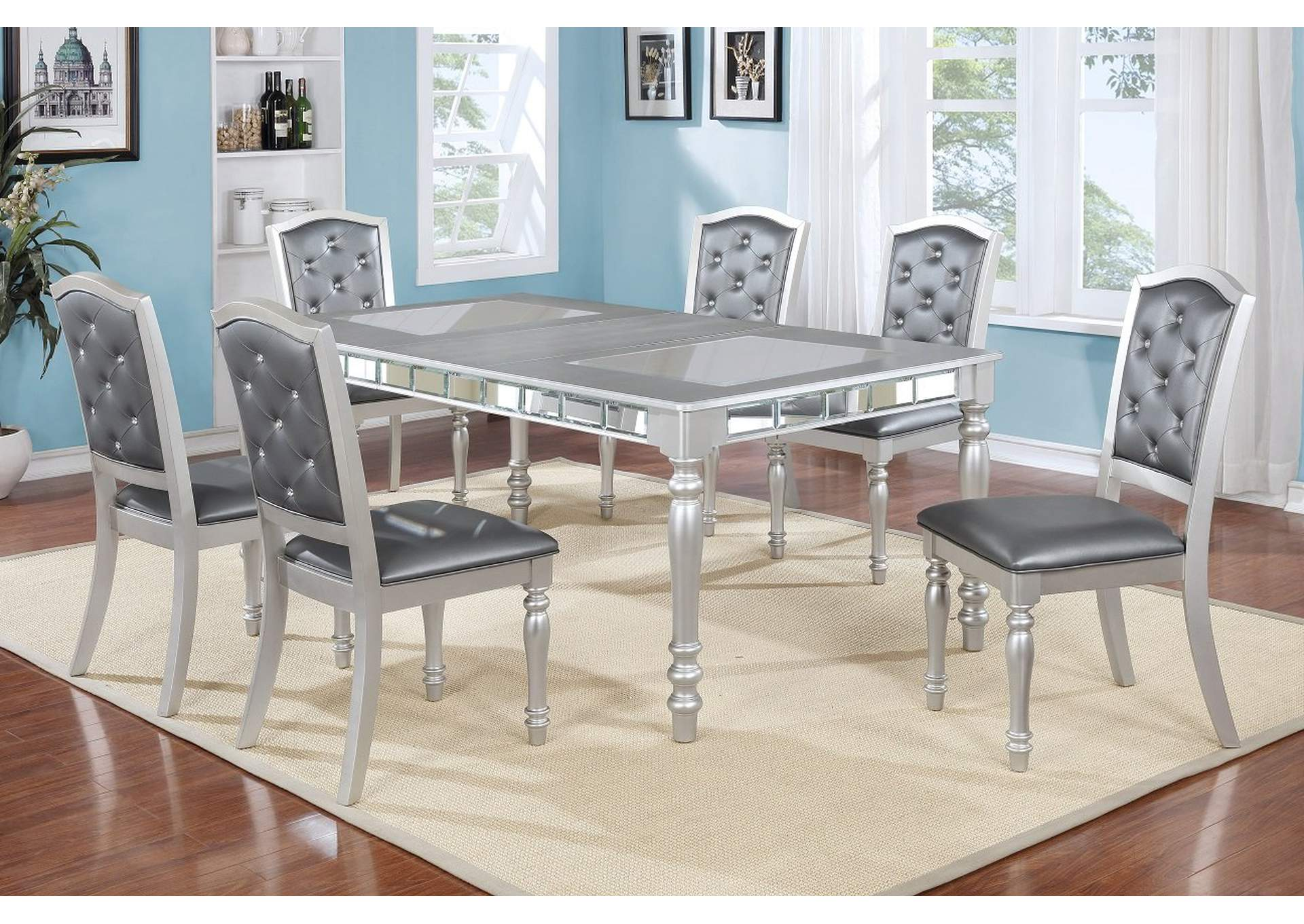 432064 Silver Shimmer Mirror Insert Dining Table W 18 Leaf