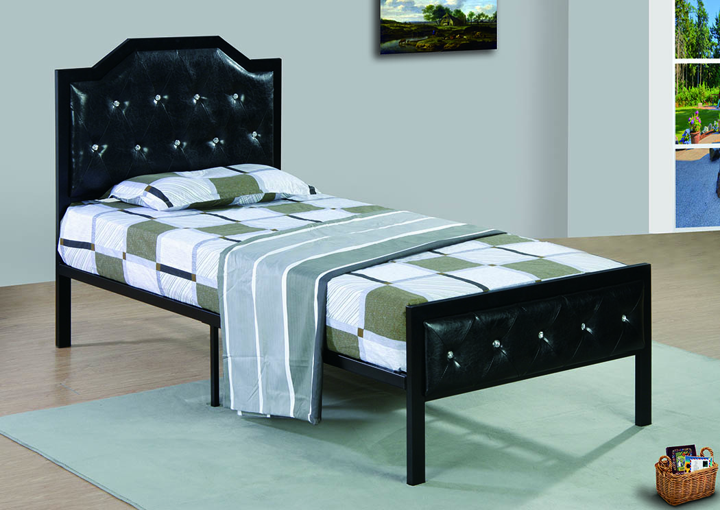 Black Upholstered/Metal Queen Bed,Furniture World Distributors